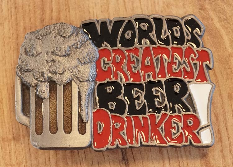 "Gürtelschnalle "" World greatest beer drinker """