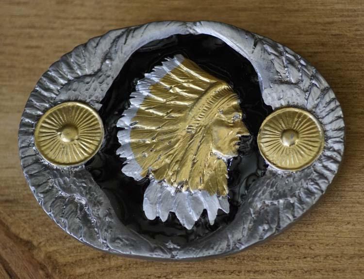 """Interchangeable buckle """" Indians head """" Black / Gold / Metal"""