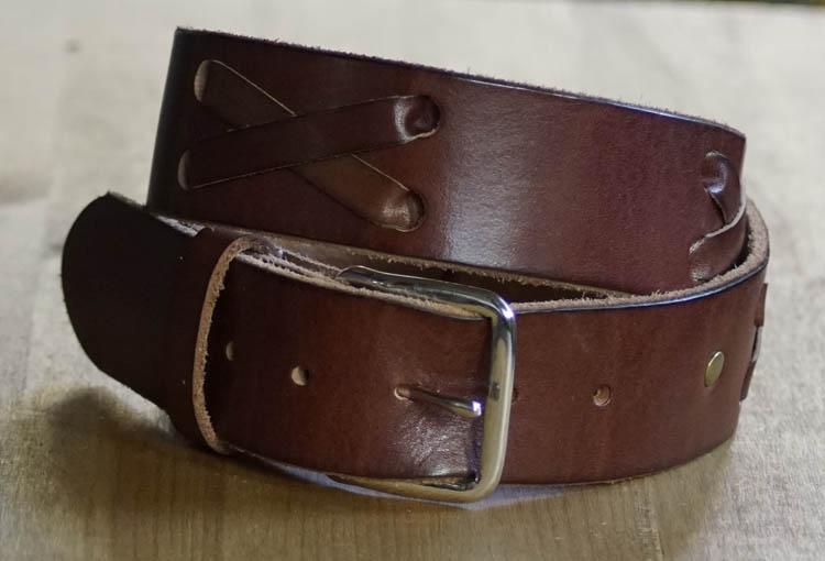 """Leder Wechselgürtel  """"  Geflochten   Braun   4,5 cm breit"""
