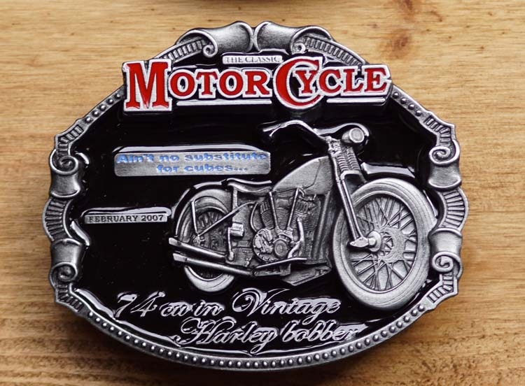 """Motor cylce buckle  """" 7A cu in vintage Harley Bobber """""""