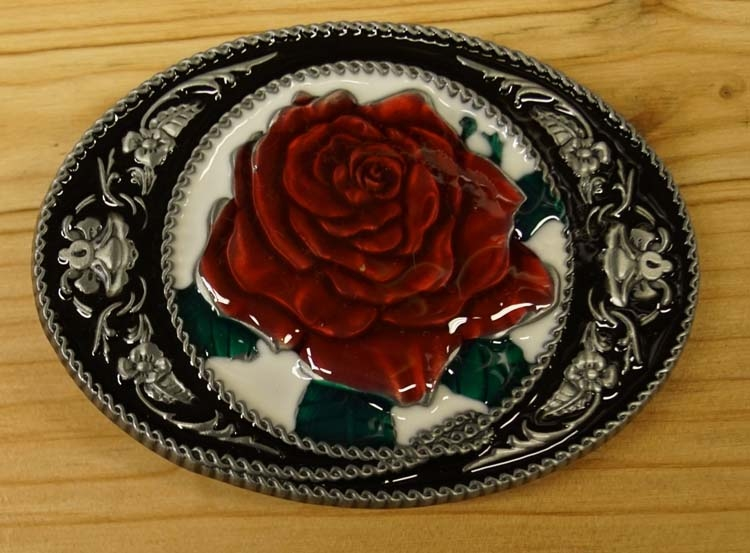 "Ornamentale Schnalle  "" Country Rose auf Medaille """