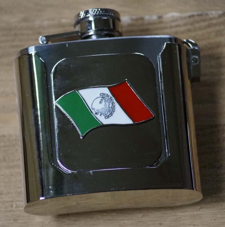 """Ornamentale Schnalle """" Trinkflasche mit Mexikanische Flag"""""""