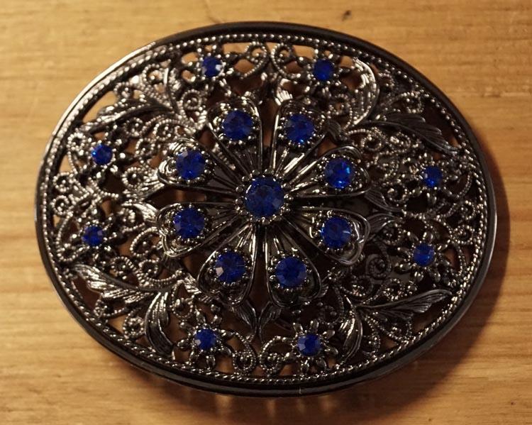 "Rhinestone Gürtelschnalle  "" Blume motiv "" strass Blau"